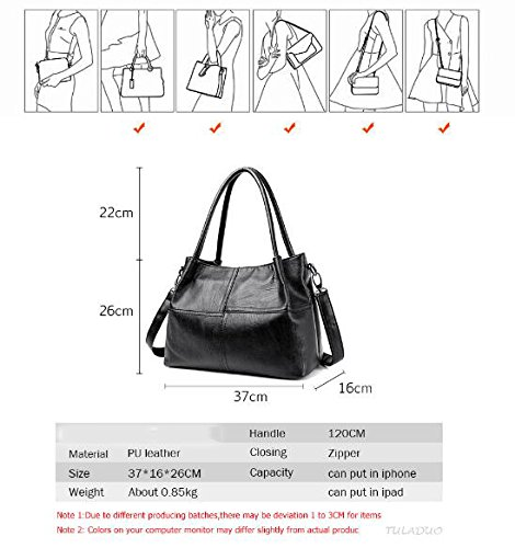 grand Femmes à sac à Sac Sacs Handle main 22cm noir Top main Designer 26cm bandoulière femelle coutures à Sacs Purple main a en 37cm femmes sacs Sacs cuir wn7qrYAw