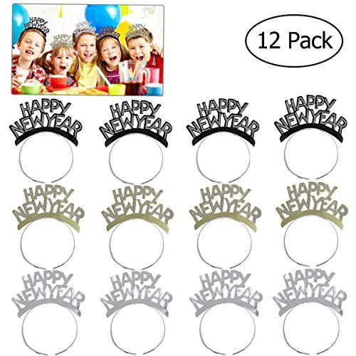 Year New Happy Top Hat (OULII New Year Headband Hair Clasp New Year's Eve Tiaras Aluminum Foil Tiaras for 2019 New Year Party Decorations,Pack of 12)