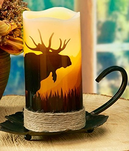 CC Home Furnishings Pack of 4 Country Rustic Moose LED Lighted Wax Flameless Pillar Candles with Timer 6