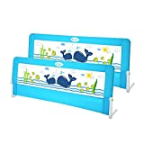 Extra Long Extra High Toddlers Bed Rail Guard, Stainless Steel More Safety, Swing Down Bedrail for Convertible Crib, Kids Twin, Double, Full Size Queen & King (Blue, 59-inch long and 25.9-inch high)