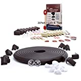 SafeBaby & Child Proofing Edge Corner Guard. 23.2ft,16 Baby proofing Furniture Foam/Clear Bumpers +26 Corners Set. Childproof Table Cushion, Fireplace Bricks. Fridge/Toilet Lock. Black/Brown White