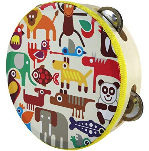 (Zoo Tambourine Toy - Small Head Tambourine Drum for Children 6 inches)