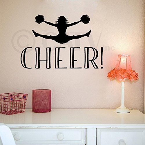 Cheer! Decal wall saying vinyl lettering art decal quote sticker home decal cheerleader