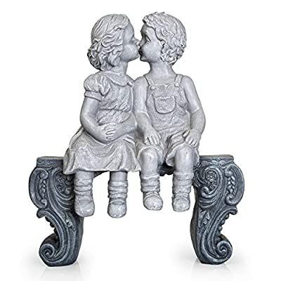 """Boy & Girl Kissing Garden Statue (Large) Decorative Yard and Lawn Decoration   Heavy-Duty, Weather-Resistant Ceramic   Inspiring Love and Romance Decor 15"""" x 12-1/2"""" x 5-3/4"""""""