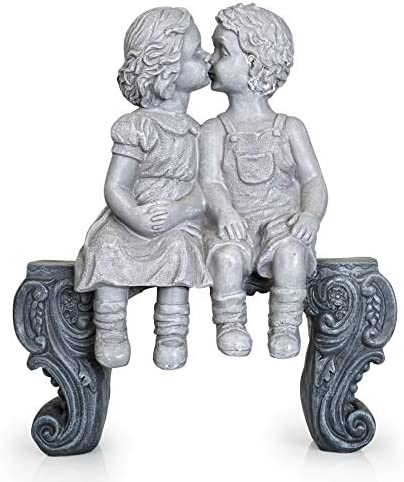 Boy Girl Kissing Garden Statue Large Decorative Yard and Lawn Decoration | Weather-Resistant Ceramic | Inspiring Love and Romance Decor 15″ x 12-1/2″ x 5-3/4″
