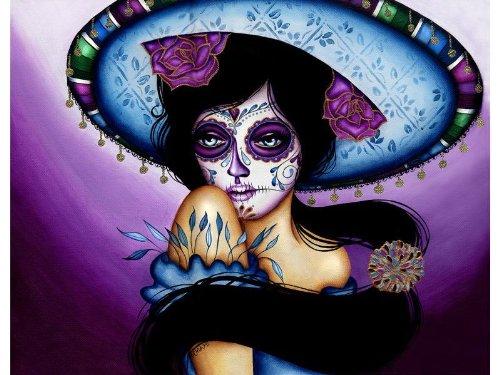 Blue Sombrero by Cat Ashworth Framed Art Print Pretty Senorita Death Mask -
