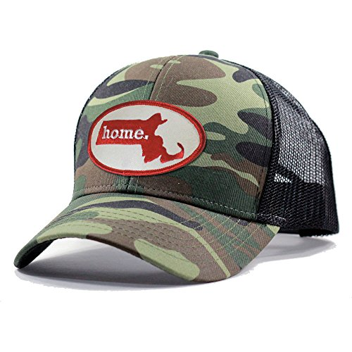 Homeland Tees Men's Massachusetts Home State Army Camo Trucker Hat - Red - Mens Mlb Local Tee