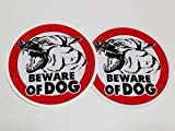 Beware of Dog Sign Sticker x 2 pack size 4 inch for Car Window Bumper Laptop Security Warning Alert Sticker Decals