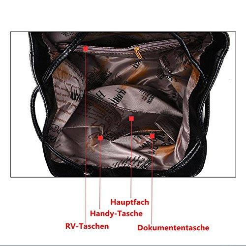 Wewod Mochila Retro de PU Cuero Alta Capacidad para Las Mujeres Mochila para La Deporte Mochila de Universidad y Escuela 31 x 33 x 13 cm (L X H x W ) Negro