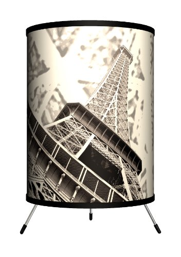 Lamp-In-A-Box TRI-TRV-EFLBW Travel - Eiffel Tower Black and White Tripod Lamp, 14'' x 8'' x 8'' by Lamp-In-A-Box