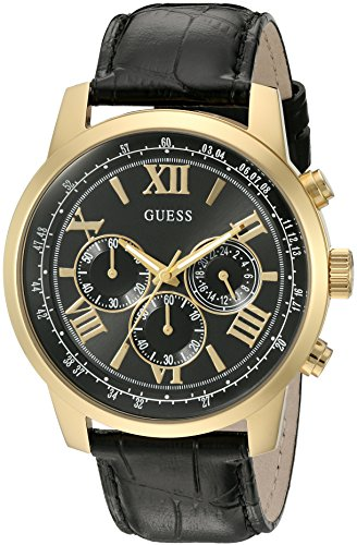 GUESS Men's U0380G7 Dressy Stainless Steel Multi-Function Watch with Chronograph Dial and Genuine Leather Strap Buckle