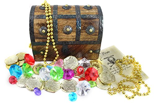 WellPackBox Wood Toy Large Treasure Chest Box Gold Coins Gems Jewels Gold Necklace and Pirate (Pirate Chest)