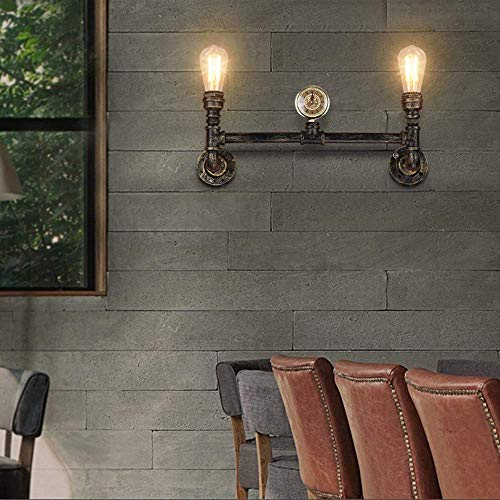 Ceiling Fan Light Chandelier Lightings Wall Lamp Wall Style Turbine Industrial Wall Light Double Head Creative Personality Driveway Hose Shape Lamp Wrought Iron Table Lamp Retro Living Room, ChuanHa
