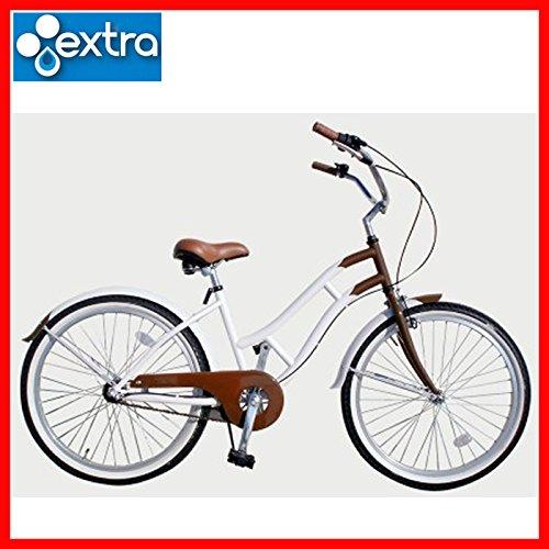 extra(エクストラ) レディース ビーチクルーザー ギアつき 自転車 LADYS BEACH CRUISER BRNWHT B01NCHR47H