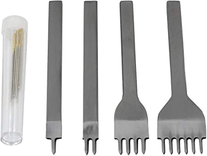 DGOL Leathercraft 4mm Spacing 4pcs 1+2+4+6 Prong Lacing Stitching Hole Punch with 6pcs Sewing Needles