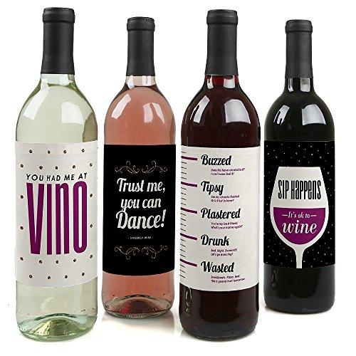 Sip Happens - Funny Gift for Women - Wine Bottle Label Stickers - Set of 4 (Bottle Wine Labels Funny)