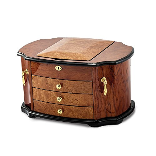 - Oak Burl with Natural Mapa Wood Veneer Jewelry Box