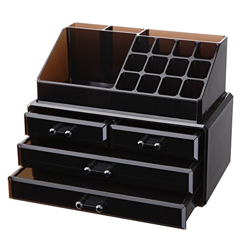 Vencer Jewelry and Makeup Storage Display Boxes (1 Top 4 Drawers) Cosmetic Organizer (Tawny),VMO-002 by Vencer