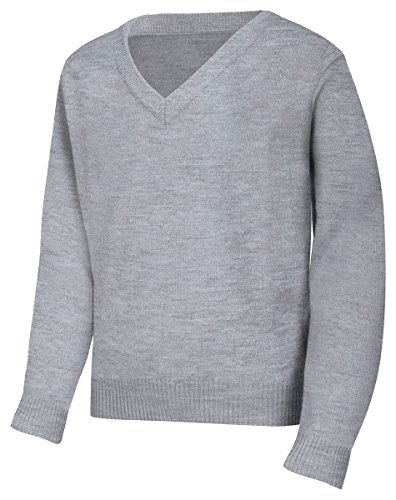 Classroom Men's Plus Size Adult Unisex Long Sleeve V-Neck Sweater 2Xl-3Xl, Heather Grey, (Plus Size For Young Adults)