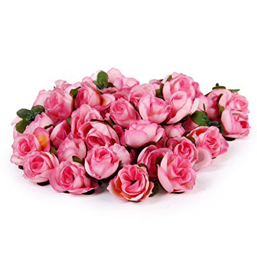 Artificial flowers for crafts amazon 50pcs 3cm artificial roses flower heads wedding decoration pink mightylinksfo