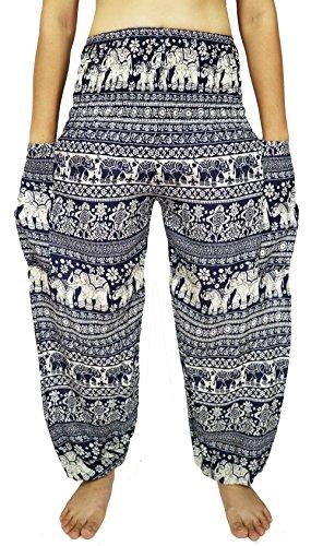 Lovely Creations Women's Smocked Waist 21-38 Inchs Hippie Boho Harem Pants (SJ Blue1)