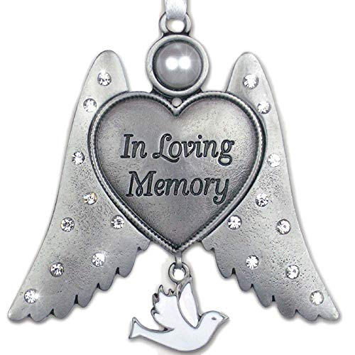 BANBERRY DESIGNS Bereavement Sympathy Angel Wings Ornament - In Loving Memory Engraved on Heart - White Hanging Dove Charm