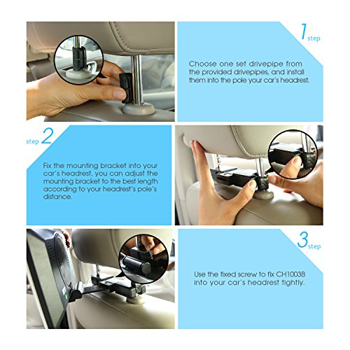NAVISKAUTO 10.1 Inch Headrest DVD Player HD 1080P LCD Screen Headrest Monitor Backseat CD/USB Player with HDMI Port and Remote and Cigar Lighter Charger and Wall Charger and Headphone(CH1003B+Y0101S) by NaviSkauto (Image #5)