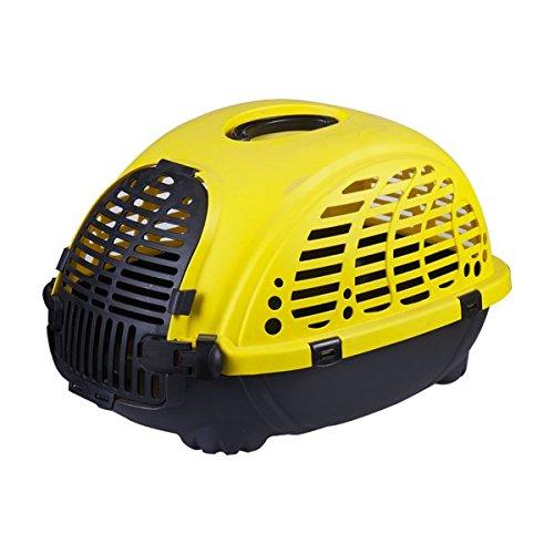 Transportín rígido para perros o gatos Nobleza, color amarillo y negro, largo 52cm.