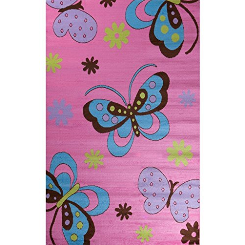 Glam Collection- Butterfly Design Area Rug for Kid's Rooms PINK 5'X7'