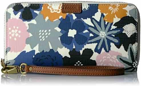 Fossil Emma Rfid Large Zip Wallet-Navy Floral
