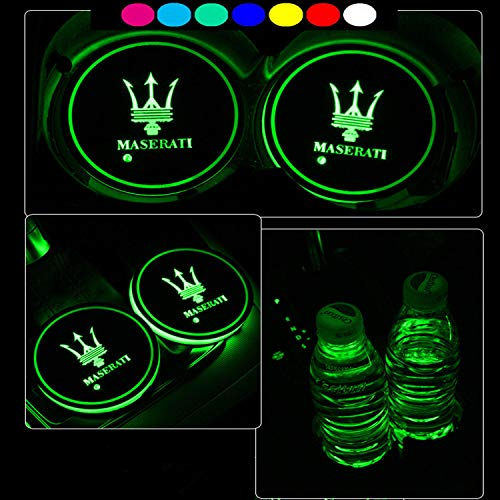 Lntly LED Car Logo Cup Holder Pad Waterproof Bottle Drinks Coaster Built-in Light 7 Colors Changing USB Charging Mat LED Cup Mat Car Atmosphere Lamp 2PCS for Maserati Accessories