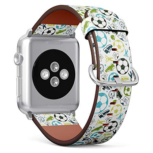 Compatible with Apple Watch 38mm & 40mm Leather Watch Wrist Band Strap Bracelet with Stainless Steel Clasp and Adapters (Sport Sketch Equipment Soccer)