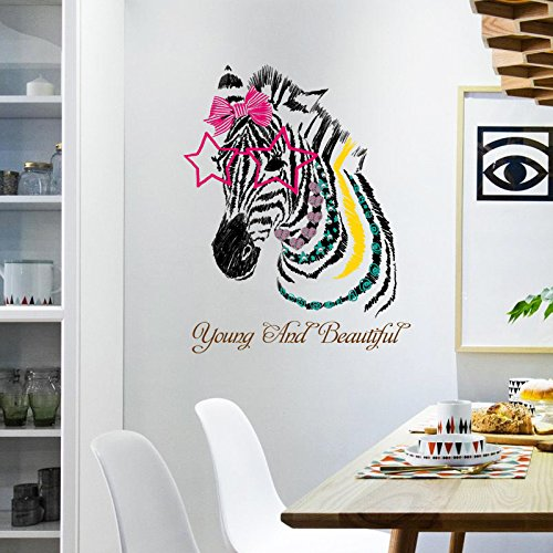 Home Find Fasion Elvish Zebra with Bowknot Decor Big Pink Star Shaped Glasses Wall Decals and Words-Young and Beautiful-Murals Removable Stickers ()