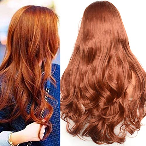 BLUPLE Natural Wavy Lace Front Wigs Women's #350 Copper Red Heat Resistant Synthetic Hair Half Hand Tied Wig Free Part for Halloween (22 inches, Natural Wave,Red#350)