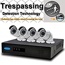 OWLTECH 8 Channel Trespassing Detection NVR support up to 5MP Resolution + 4 x 4MP 3.6mm IP Bullet Camera with Smart IR + WDR + POE + Mic Built in + 1TB HDD + 100ft cable and accessories