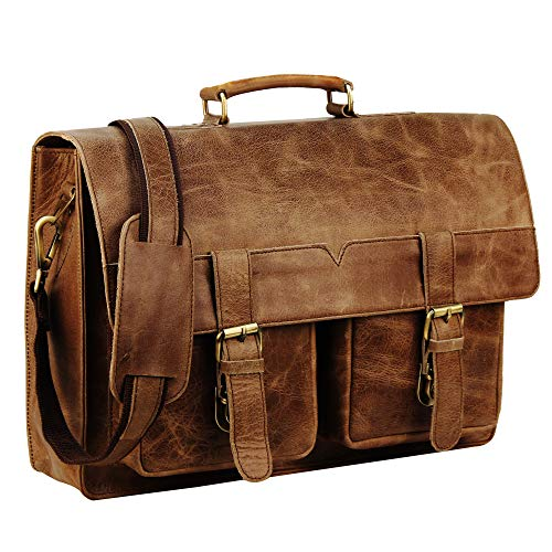 Handmade_World Vintage Buffalo Leather Messenger Satchel Laptop Briefcase Men's Bag Crazy Briefcase Bags ()