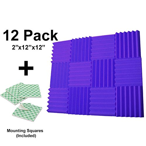 12-pk-purple-2x12x12-sound-absorbing-panels-acoustic-tiles-studio-foam-sound-wedges-with-24-double-s