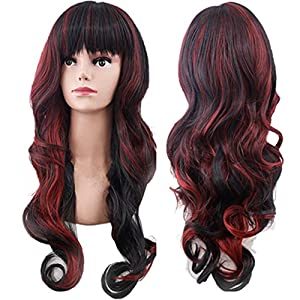 WeAlake Bob Wig Long Cosplay Wig Hair Heat Resistant Curly Wave Hairs for Women Party Wigs (Red & Black)