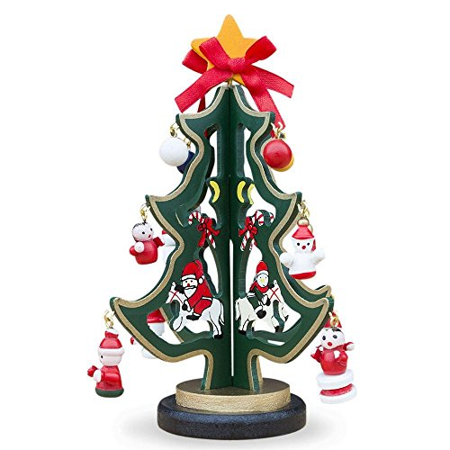 BestPysanky Wooden Tabletop Christmas Tree with Santa, Snowman Miniature Wooden Ornaments 6.5 Inches