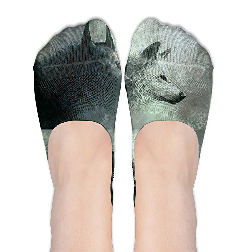 Wolf Couple Womens Thin Casual No Show Socks Non Slip Flat Boat Line by Wibet
