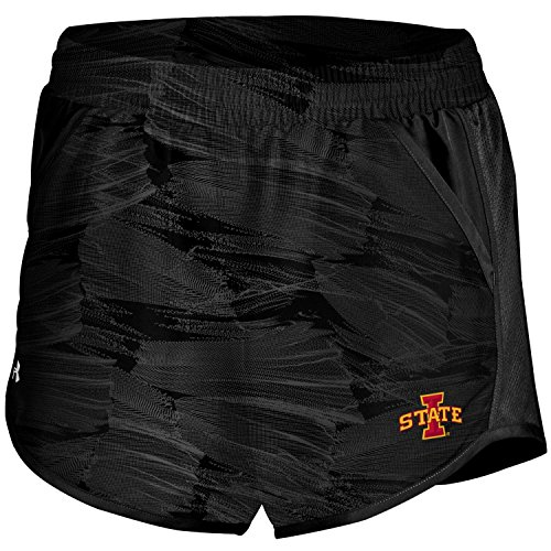 Under Armour NCAA Iowa State Cyclones Women's Fly by Run Shorts, Black Optic Feather, X-Large