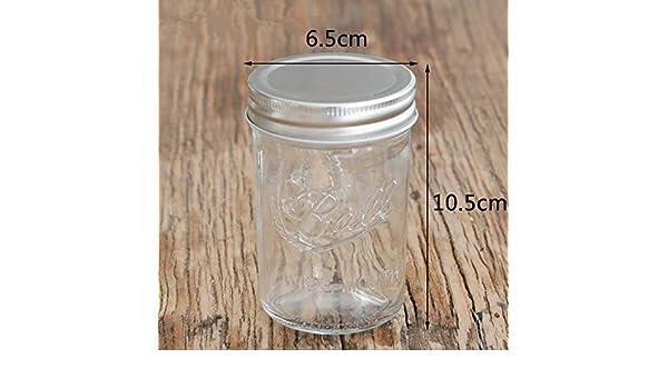 Frasco de vidrio de mermelada transparente sellado tarro de aluminio cubierta de diamante boca ancha -B 220ml: Amazon.es: Hogar