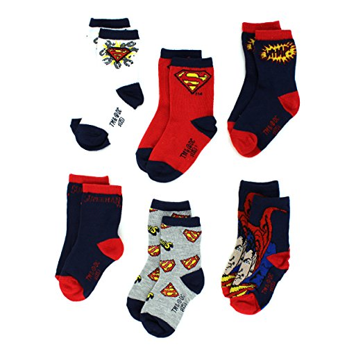 Superman Toddler 6 pk Crew Socks (3T/4T, Superman Whap!)