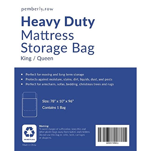 Pemberly Row 78 x 96 Plastic Mattress Bag for Storage & Moving Queen/King Size