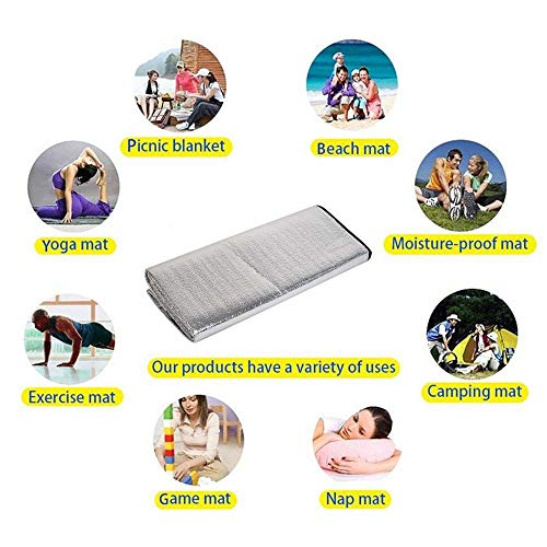 Waterproof Aluminum Foil EVA Sleeping Mattress Mat Pad for Outdoor Camping Hiking Travel Festival Picnic Beach Silver Extra Large All Weather and Waterproof Throw -