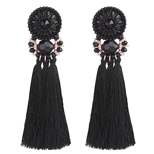 ion Statement Thread Tassel Earrings Bohemian Handmade Facet Bead Chandelier Earrings Tassel Dangle Drop Earrings Black (Black Bead Drop Earrings)