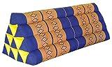Thai triangular cushion XXL, blue/yellow, relaxation, beach, kapok, made in Thailand.. (82115)