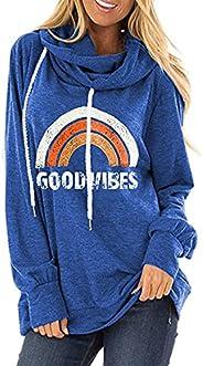 imrusan Womens Casual Hooded Sweatshirt Loose Drawstring Pullover Hoodies Graphic Tops Tunic, S-2XL