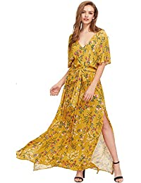 Womens Boho Split Tie-Waist Vintage Print Maxi Dress