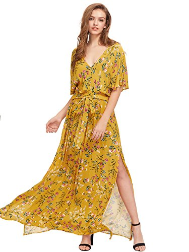 Milumia Women's Boho Split Tie-Waist Vintage Print Maxi Dress (Small, Yellow-1) - Floral Print Tie Waist Top